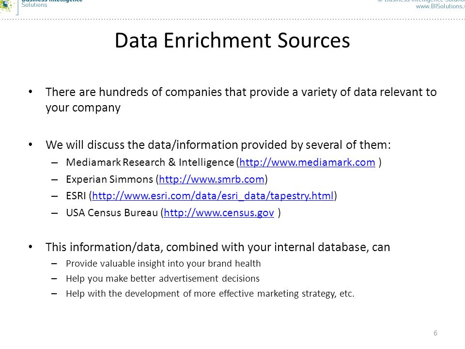 Data Enrichment Sources