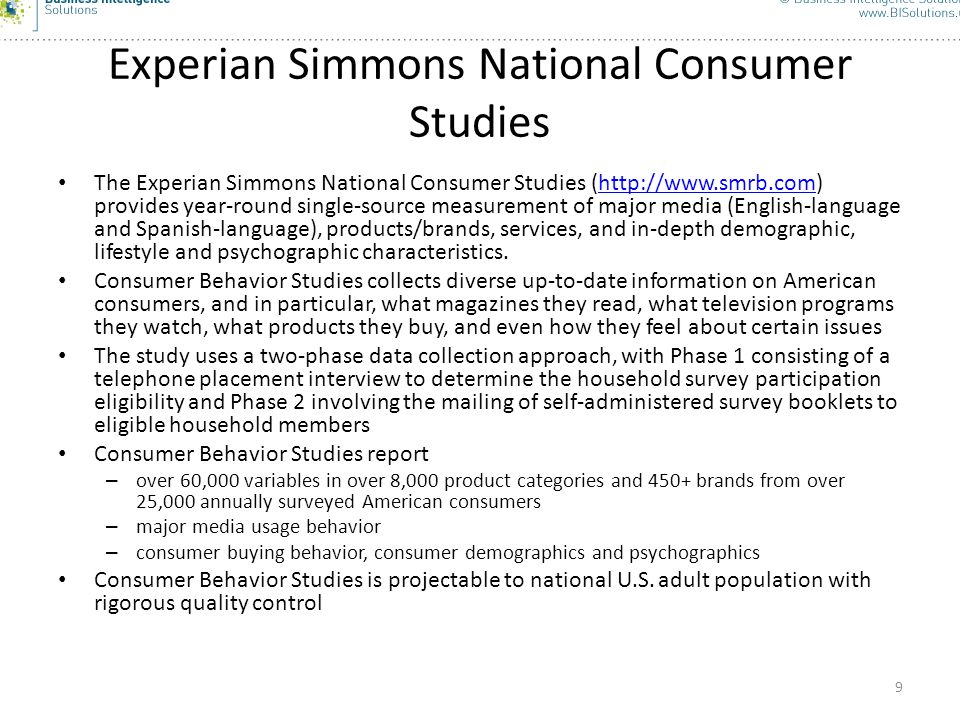 Experian Simmons National Consumer Studies