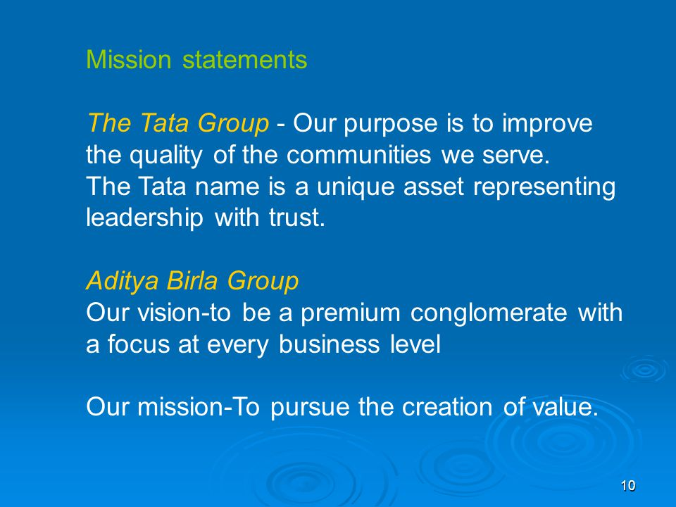 tata group aims objective and misson He was joined by a large group of local people who cooperated in the swachhta abhiyan  swachh bharat mission in urban areas is focused on building individual.