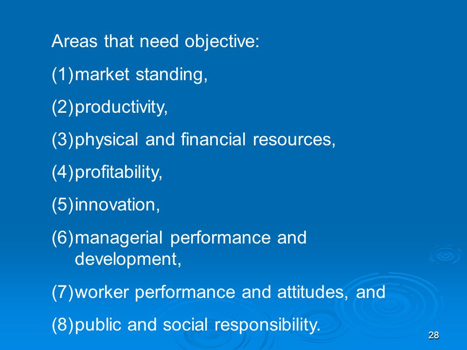 Areas that need objective: