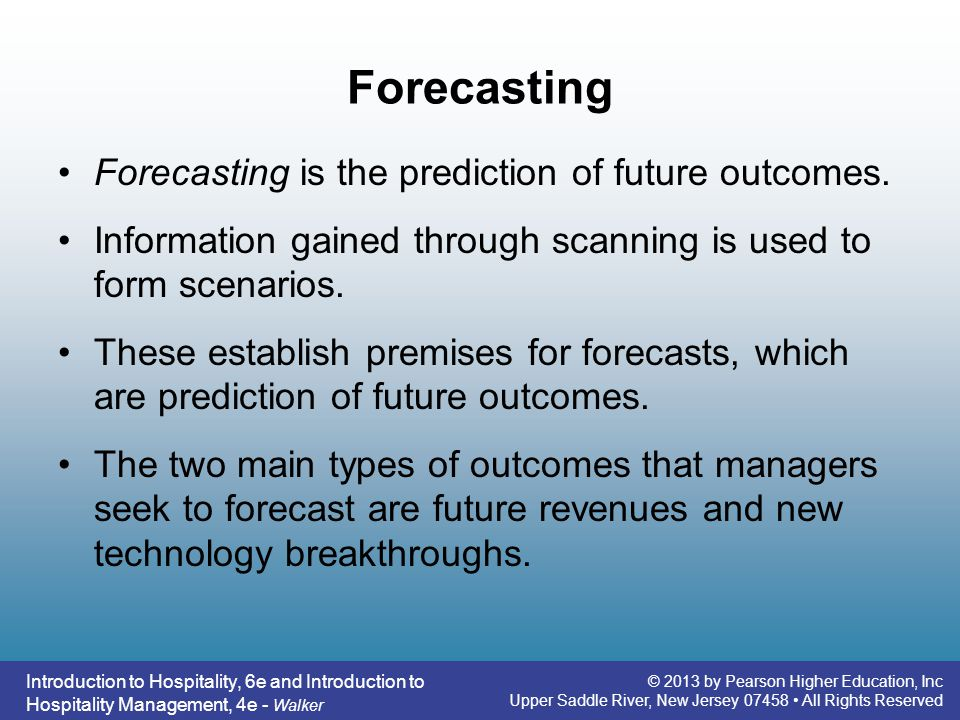 Forecasting Forecasting is the prediction of future outcomes.