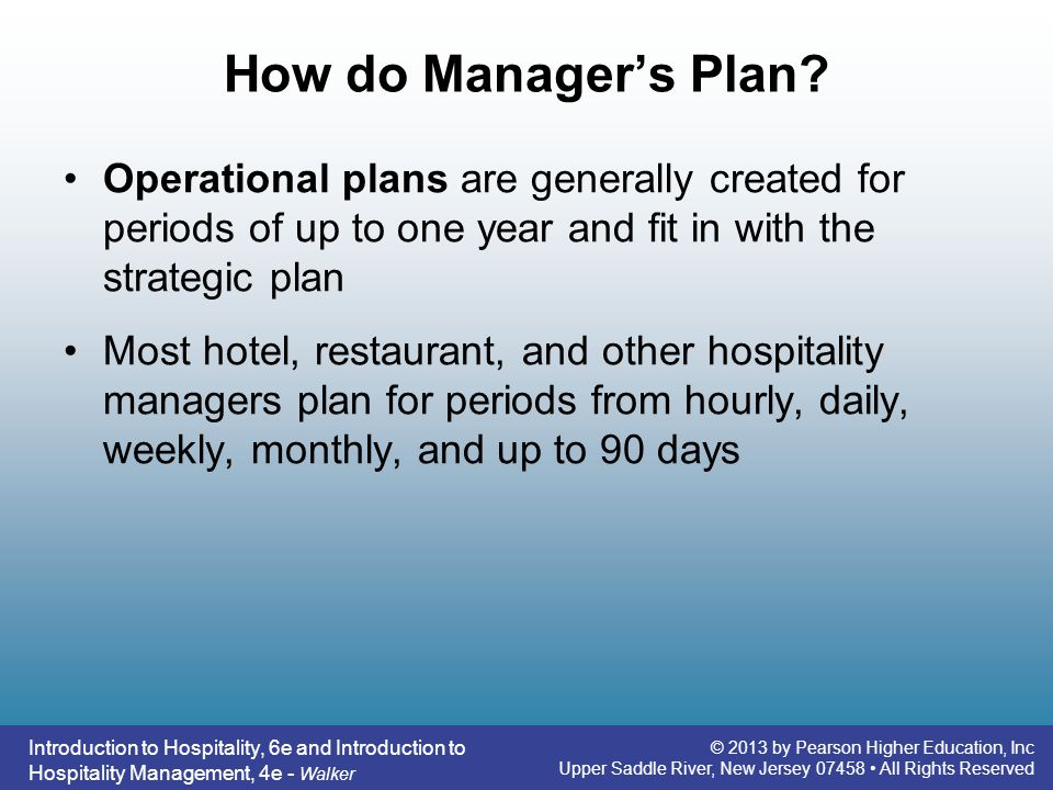 How do Manager's Plan Operational plans are generally created for periods of up to one year and fit in with the strategic plan.