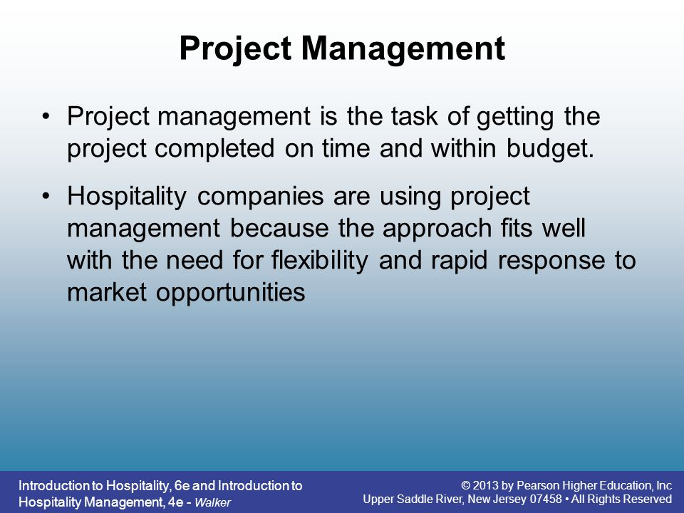 Project Management Project management is the task of getting the project completed on time and within budget.
