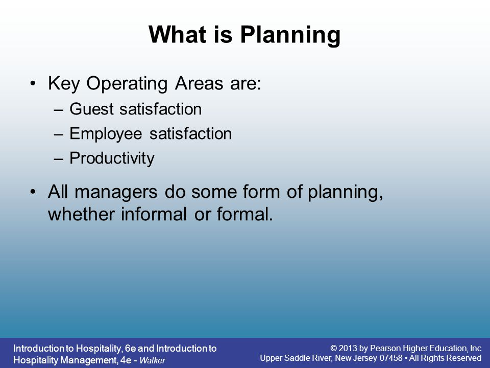 What is Planning Key Operating Areas are: