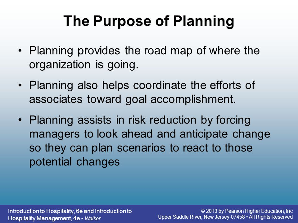 The Purpose of Planning