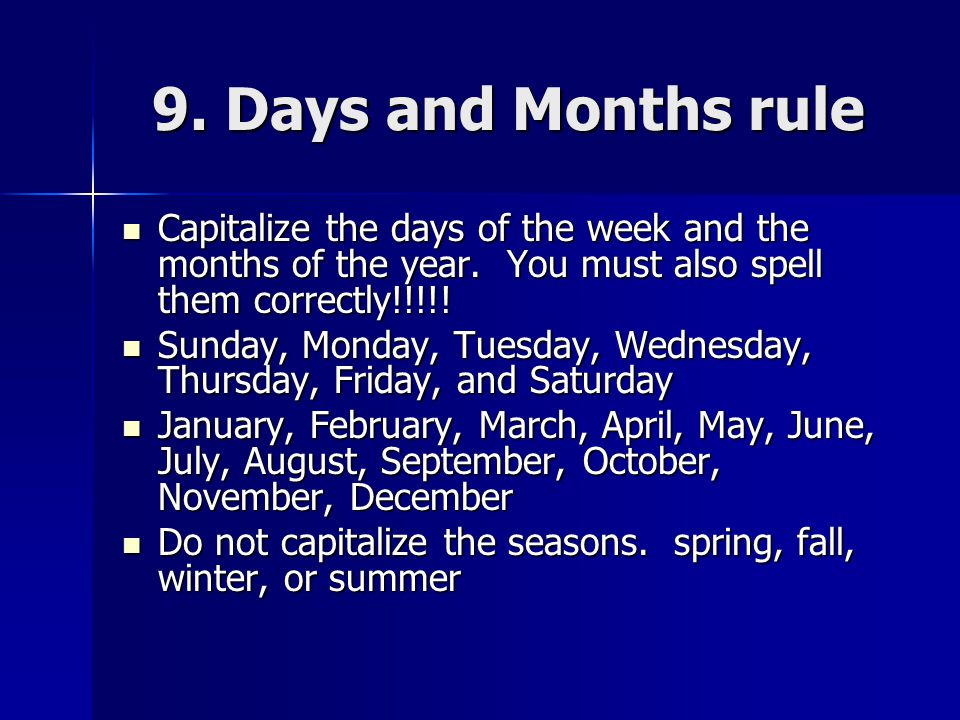 How do you spell the days of the week