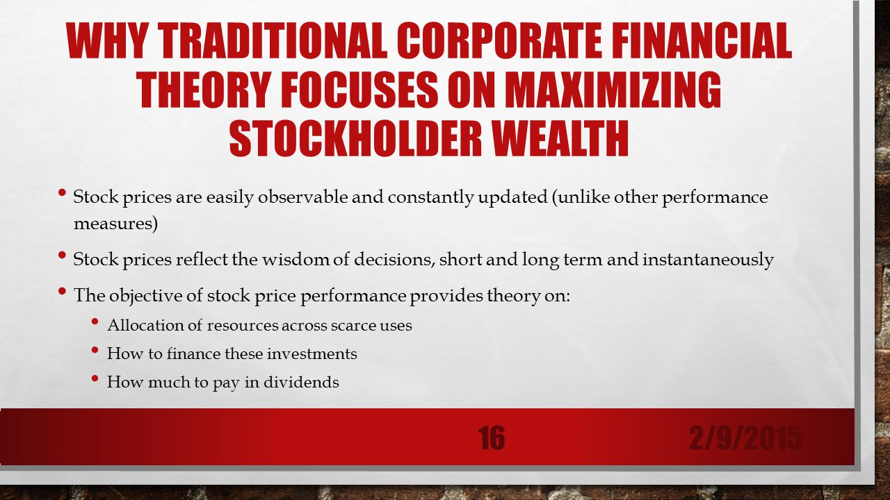 importance of maximising shareholders wealth Maximising shareholders wealth  point efficient market hypothesis theory come in to place  the qn was actually asking about importance of emh to shreholders .