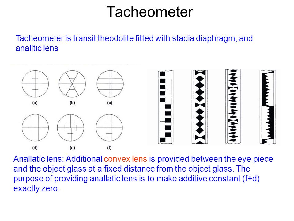 Tacheometer Tacheometer is transit theodolite fitted with stadia diaphragm, and analltic lens.
