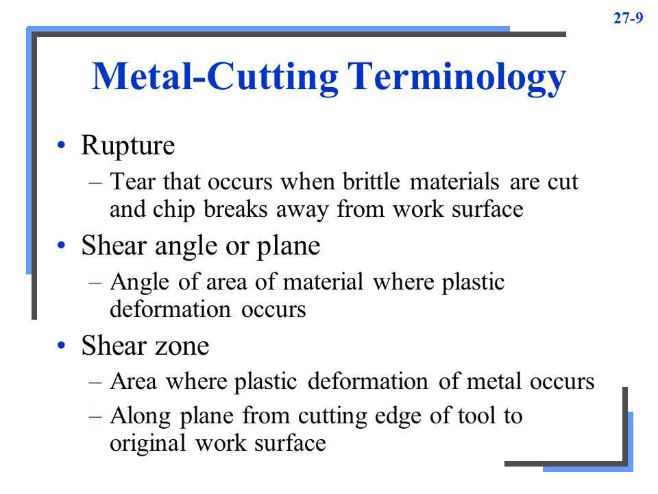 Metal Cutting Terminology