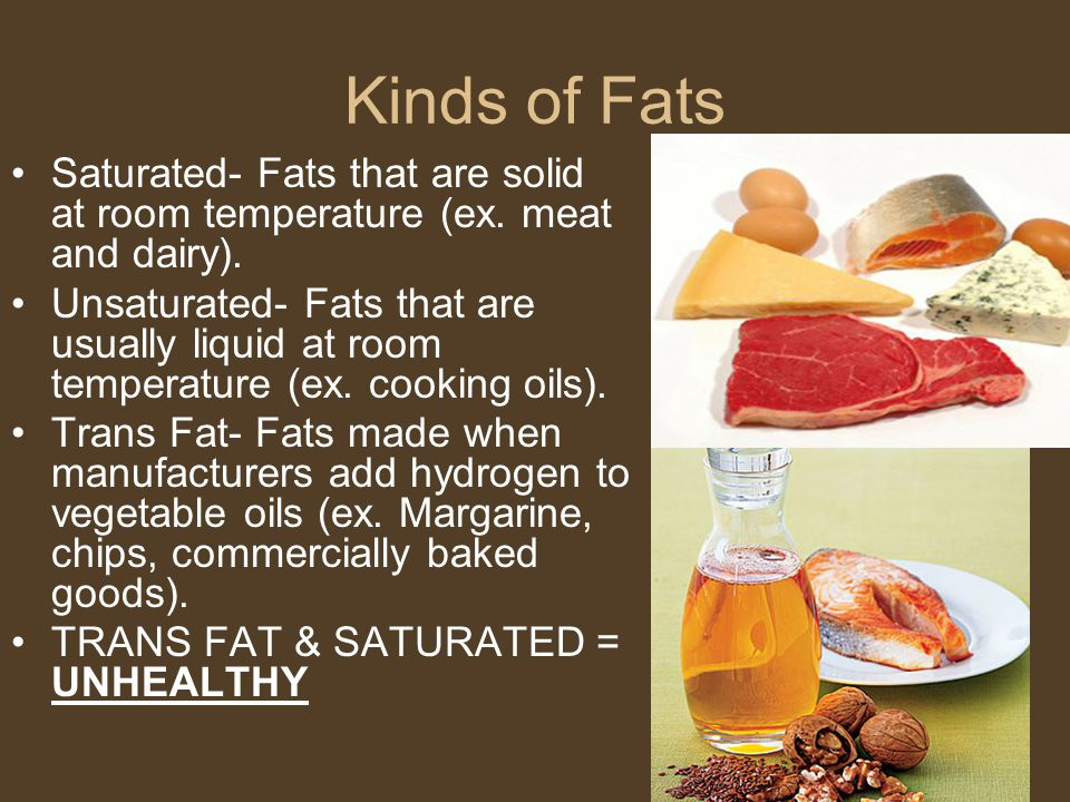 Kinds of Fats Saturated- Fats that are solid at room temperature (ex. meat and dairy).
