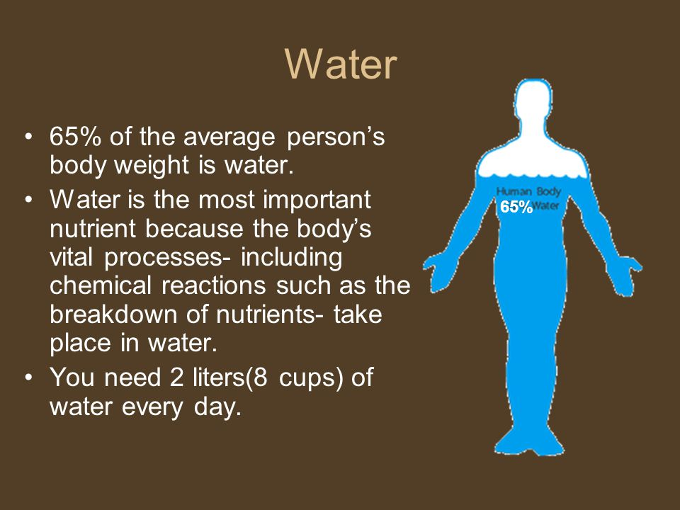 Water 65% of the average person's body weight is water.