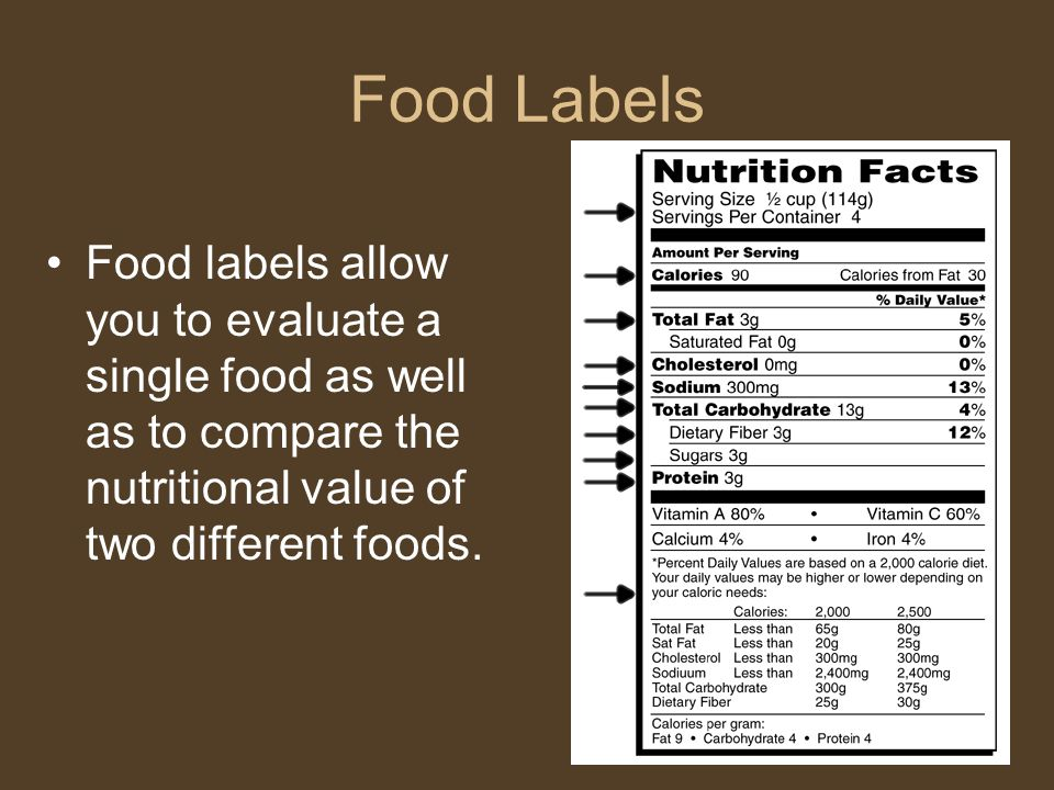 Food Labels Food labels allow you to evaluate a single food as well as to compare the nutritional value of two different foods.