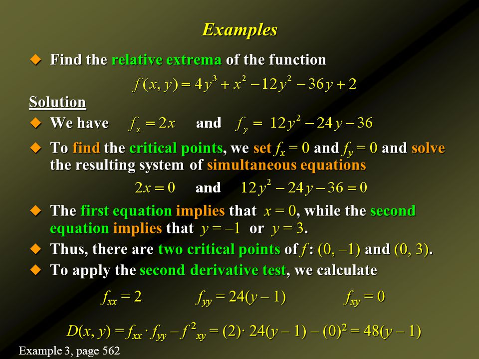how to find relative extrema using second derivative test