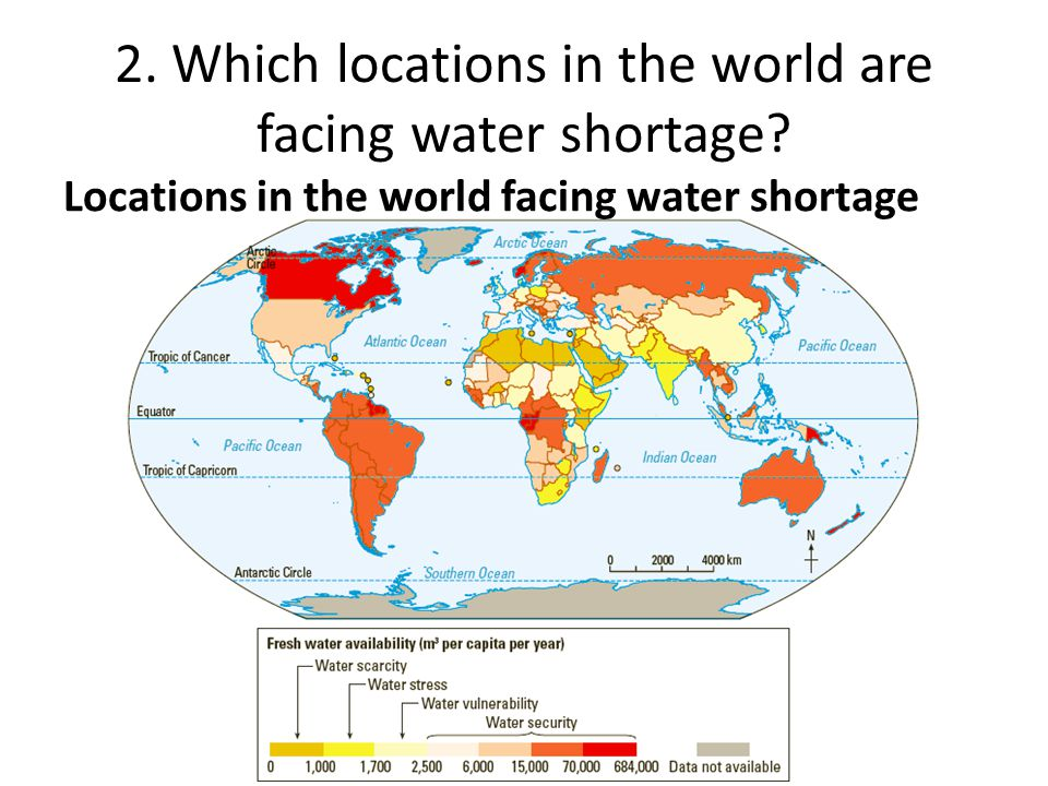 """fresh water shortage Two-thirds of the world faces severe water shortages  """"freshwater scarcity is a major risk to the global economy, affecting four billion people directly,"""" dr hoekstra said """"but since."""