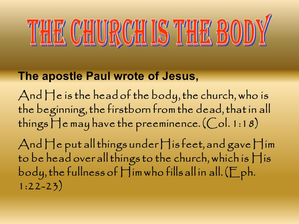 THE CHURCH IS THE BODY The apostle Paul wrote of Jesus,