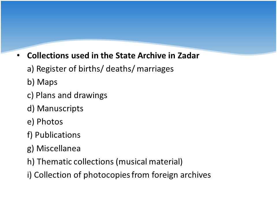 Collections used in the State Archive in Zadar
