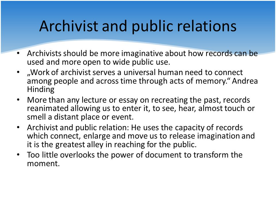 Archivist and public relations