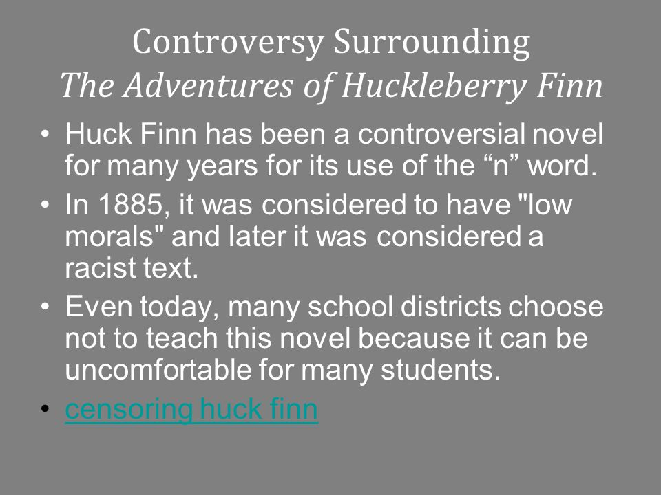 racism huckleberry finn essay You May Also Find These Documents Helpful