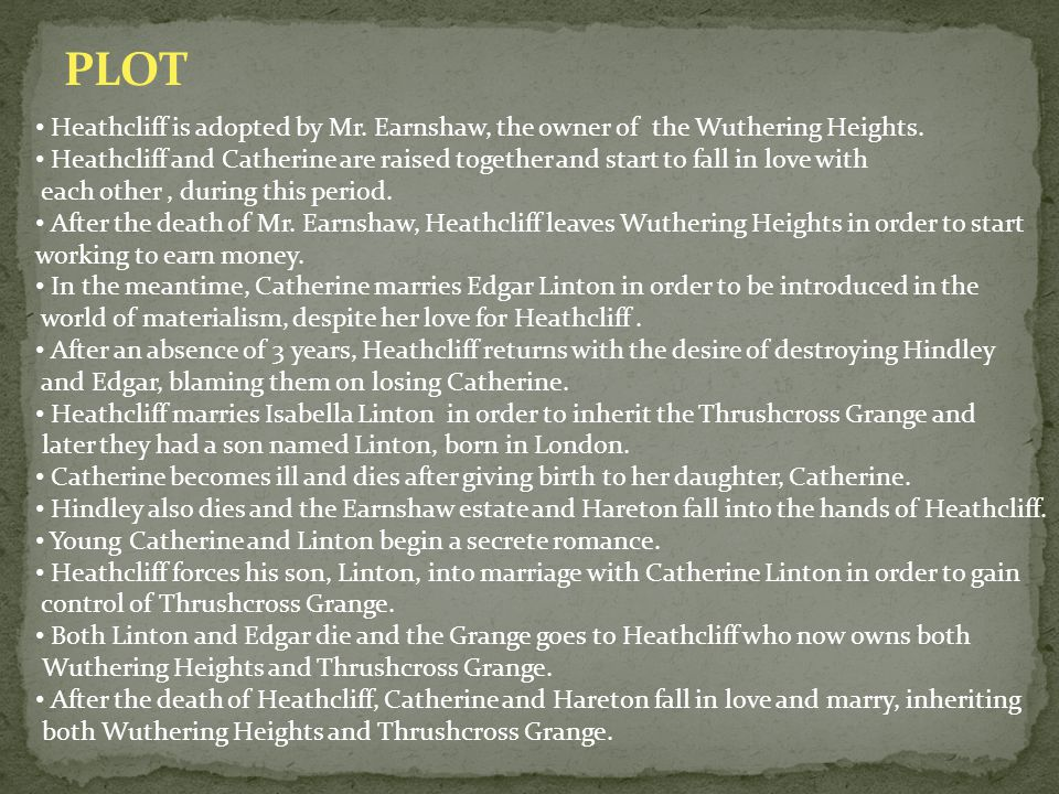 wuthering catherine and thrushcross catherine Also a single paragraph summary  catherine returns to wuthering heights but  with heathcliff now the master of both wuthering heights and thrushcross.