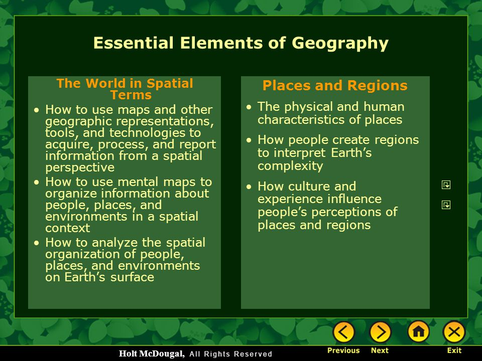 Essential Elements of Geography