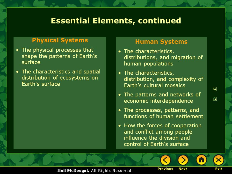 Essential Elements, continued