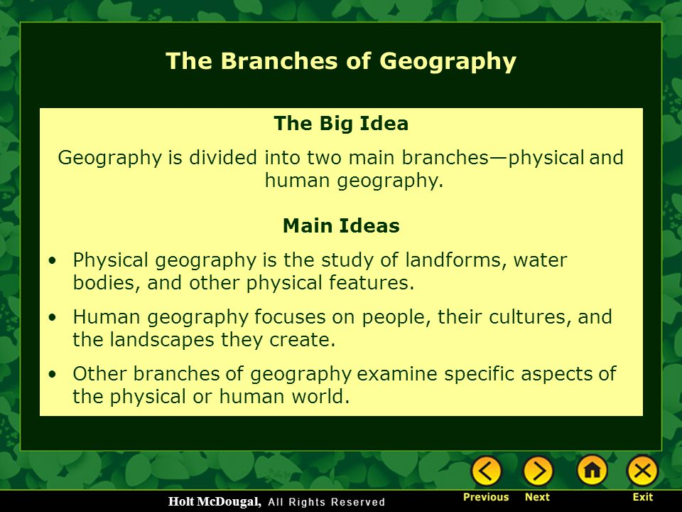 The Branches of Geography