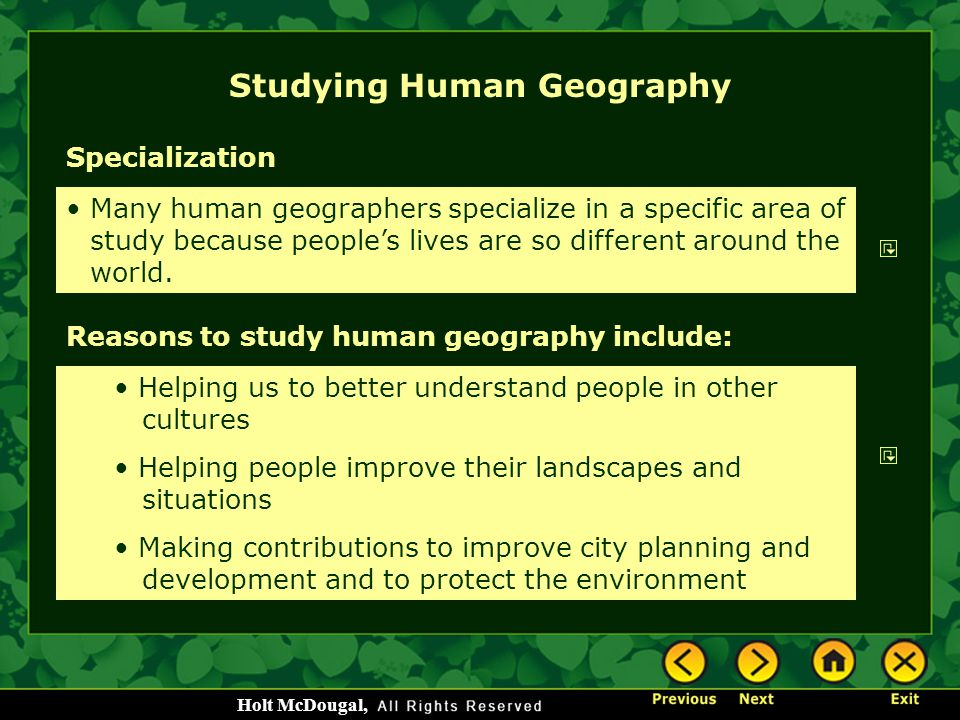 Studying Human Geography