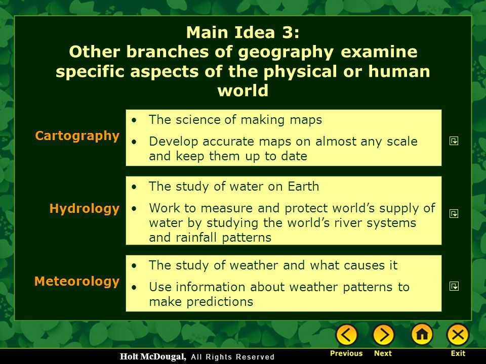 Main Idea 3: Other branches of geography examine specific aspects of the physical or human world