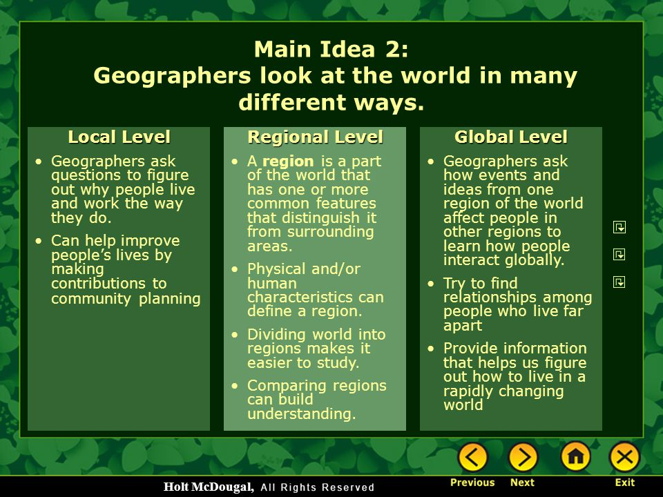 Main Idea 2: Geographers look at the world in many different ways.
