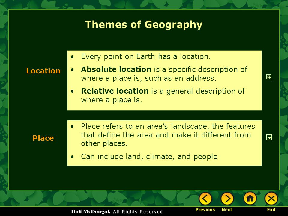 Themes of Geography Every point on Earth has a location.