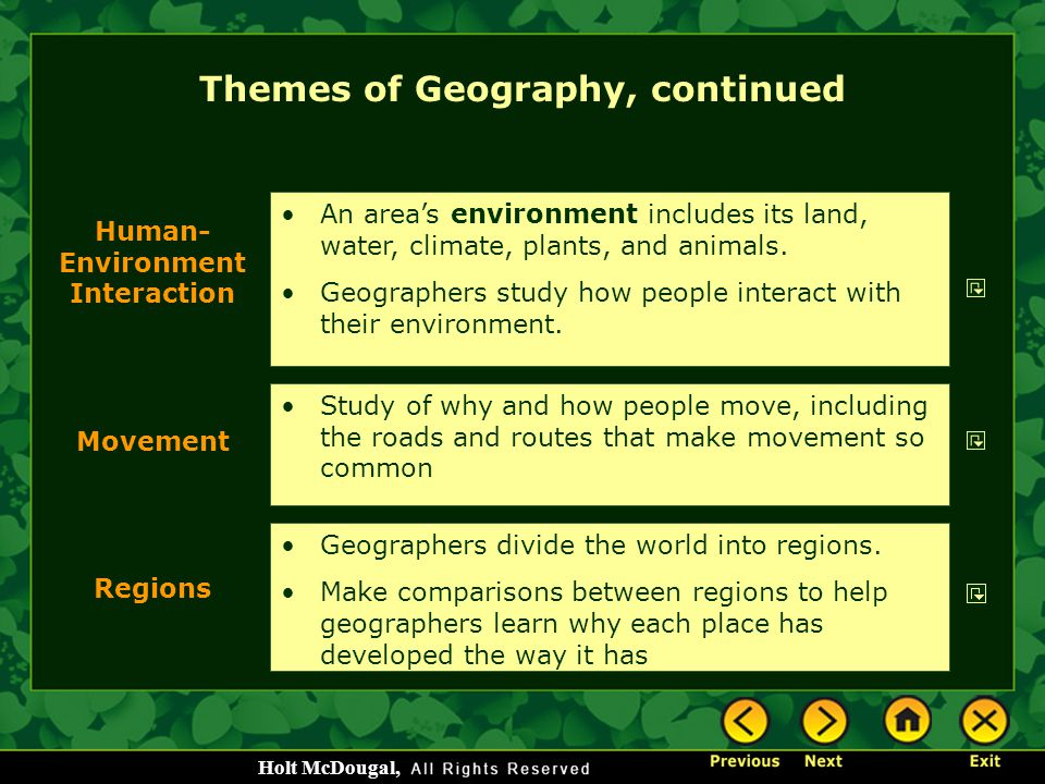 Themes of Geography, continued