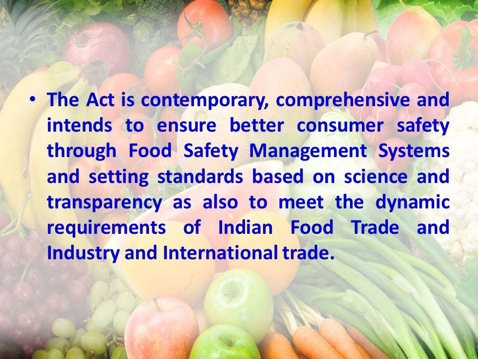 food safety and the international trade Management of the safety of food in international trade involves international  organisations, governments, commercial interests and consumer advocates in a .