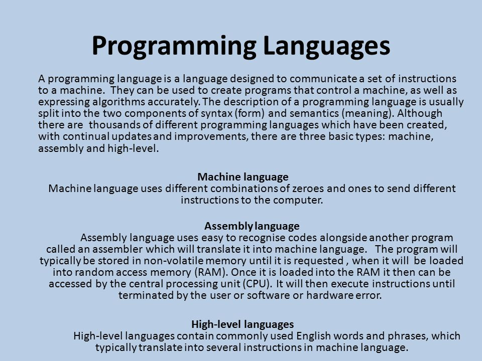list and explain teh types of programming languages P3: explain sequence, selection and iteration as used in computer programming in this presentation, i will explain what sequence, selection and iteration which are all used in computer programming.