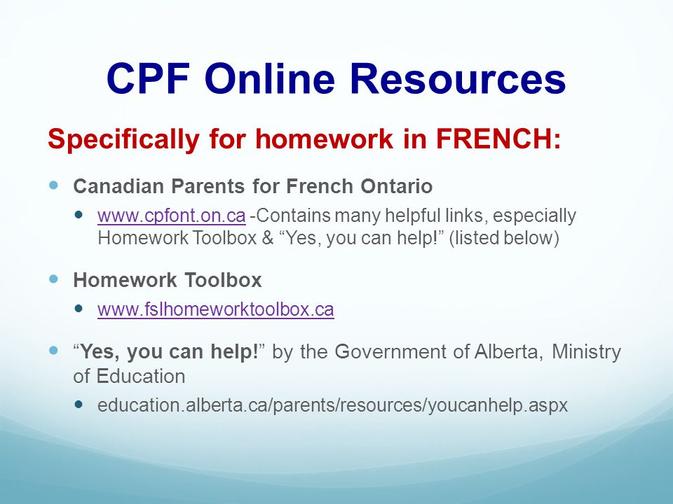Parent help for homework