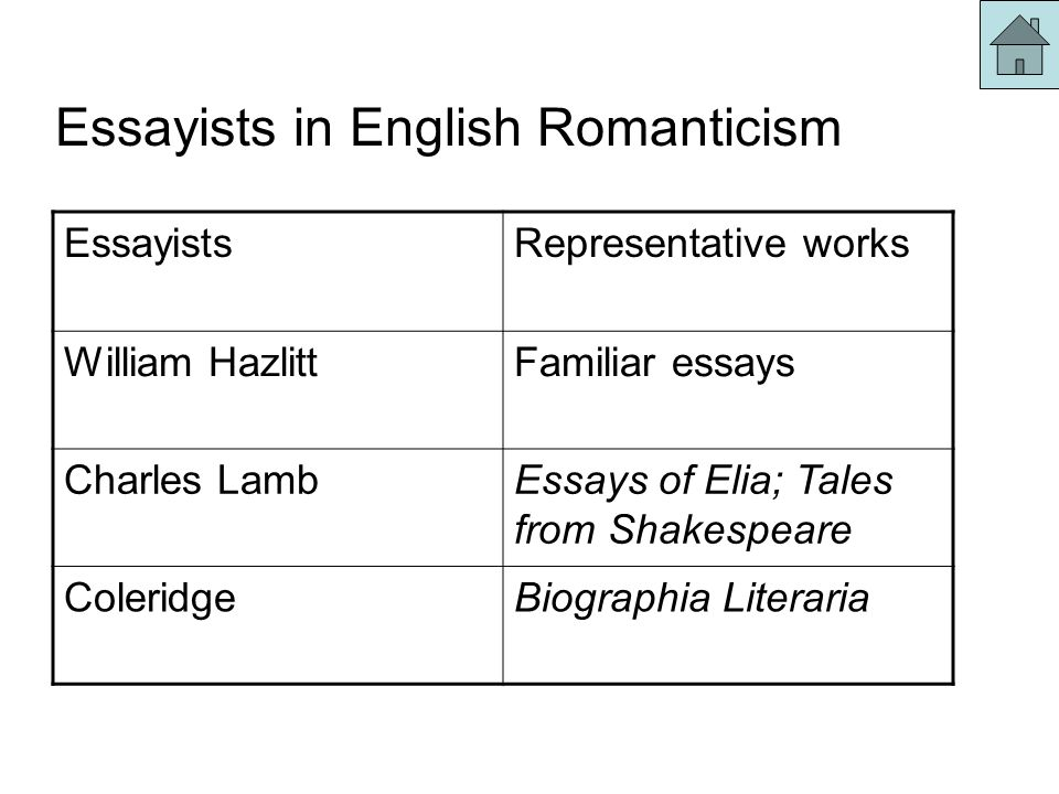 english romantic essayists What are the characteristics of romanticism in the essays of charles 15 feb 2009 many of the works of charles lamb are reflective of the literary romanticism of his age he was more interested in content over form the charles lamb - wikipedia charles lamb (10 february 1775 – 27 december 1834) was an english essayist, poet, and and.