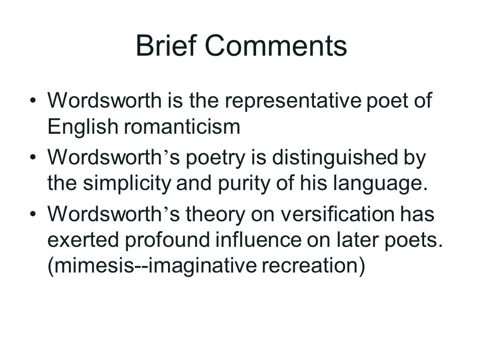 "wordsworth theory of language of poetry William wordsworth, in the ""preface"" to the lyrical ballads (1800, 1802) similarly  praises  there is no difference between well-written prosaic and poetic  language, only  in classicist theory the poetic was bound to remain marginal— even if."