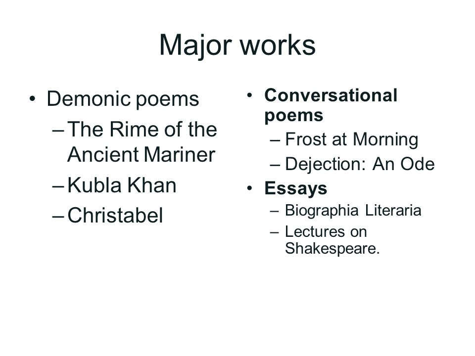 the th century literature ppt video online major works demonic poems the rime of the ancient mariner kubla khan