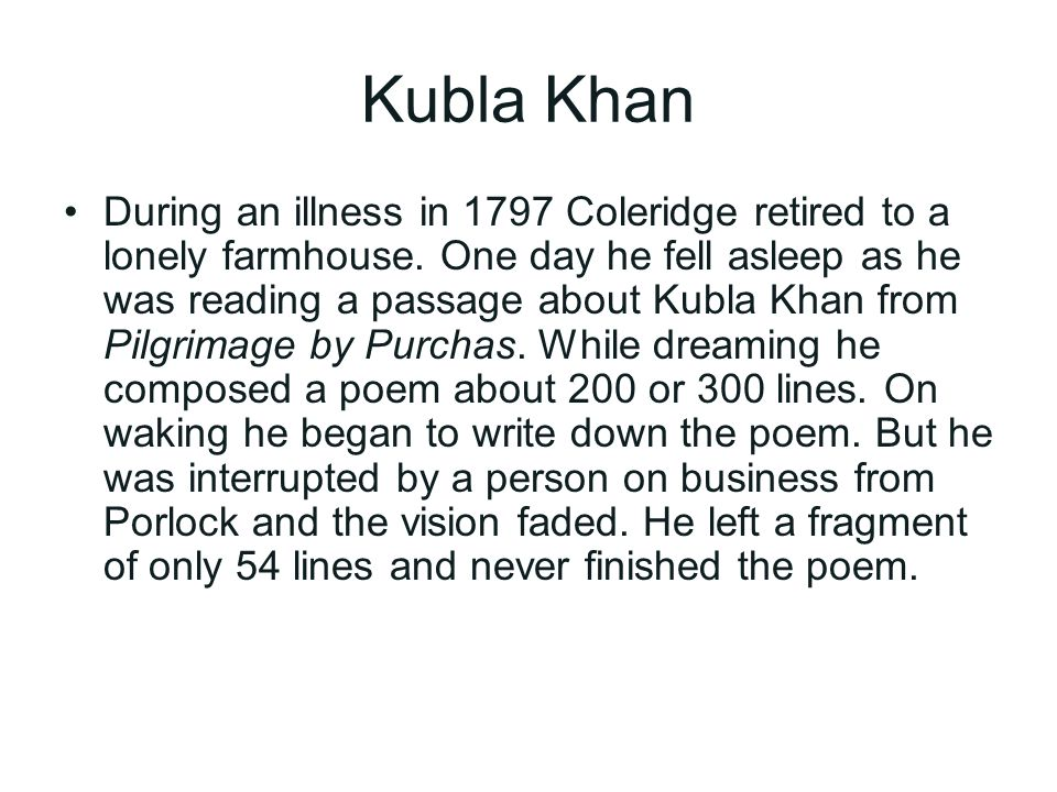 Kubla Khan by Coleridge - Assignment Example