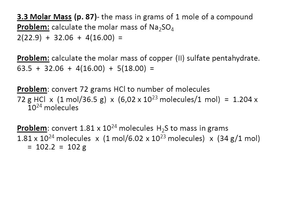 Chapter 3 stoichiometry part 1 ppt download 33 molar mass p 87 the mass in grams of 1 mole urtaz Gallery