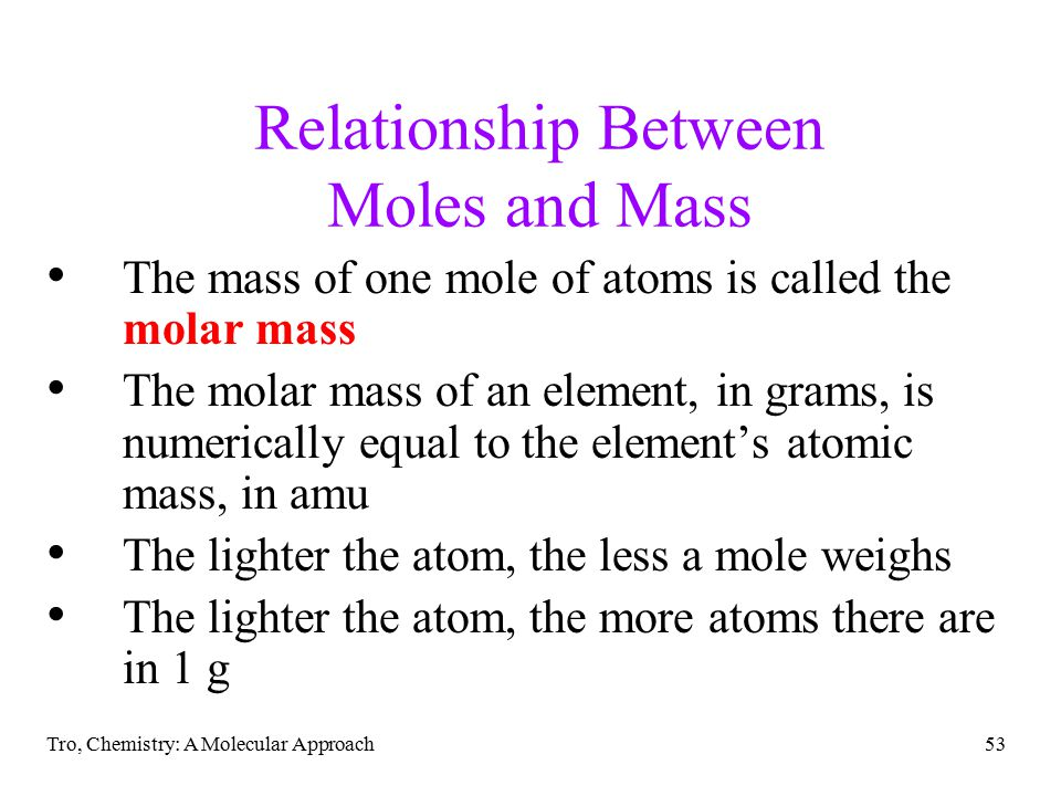 relationship between mole and molecular mass