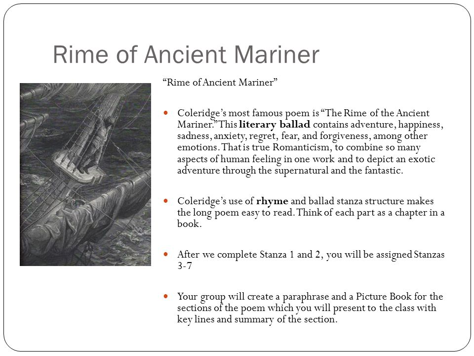 "Elements of the Romantic in ""The Rime of the Ancient Mariner"""