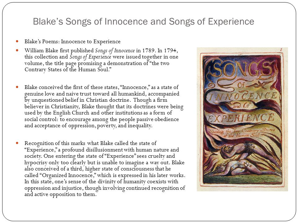 a sense of controlled joy in songs of innocence by william blake Songs of innocence: nurse's song by william blake adult watches children playing, ask to keep playing and not go to bed songs of innocence: infant joy by william blake.