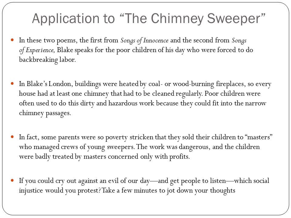 child labor in the chimney sweeper by william blake