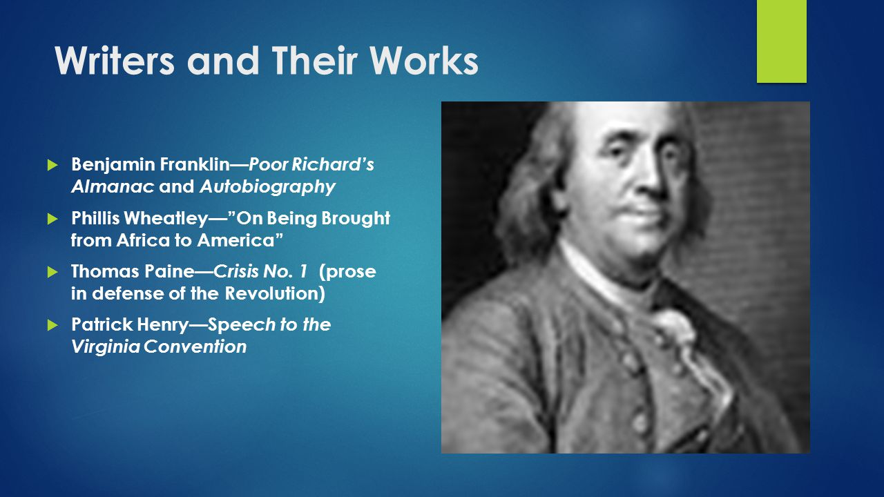 a brief overview of benjamin franklins influence on early american literature Benjamin franklin pioneered the  during the heyday of american individualism, franklin's story was taken up by  mark twain noted franklin's influence on.