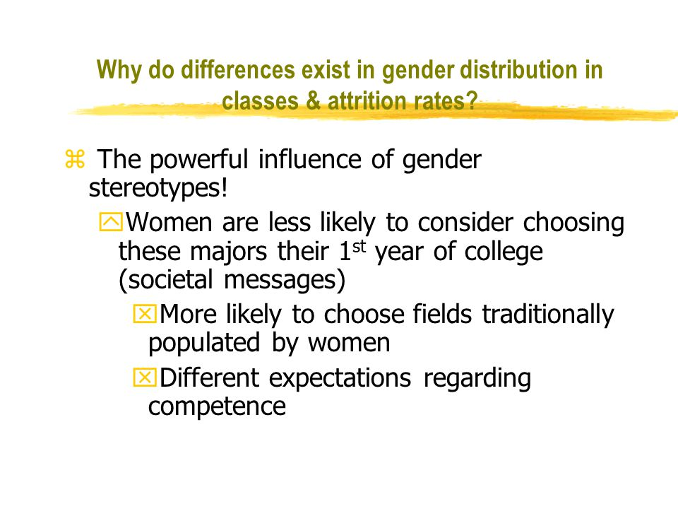 does gender difference really exist The term applied to the typical differences between men and women that is often specific to a particular culture where domains as careers, communication, health, social awareness and orientation to the environment are seen.