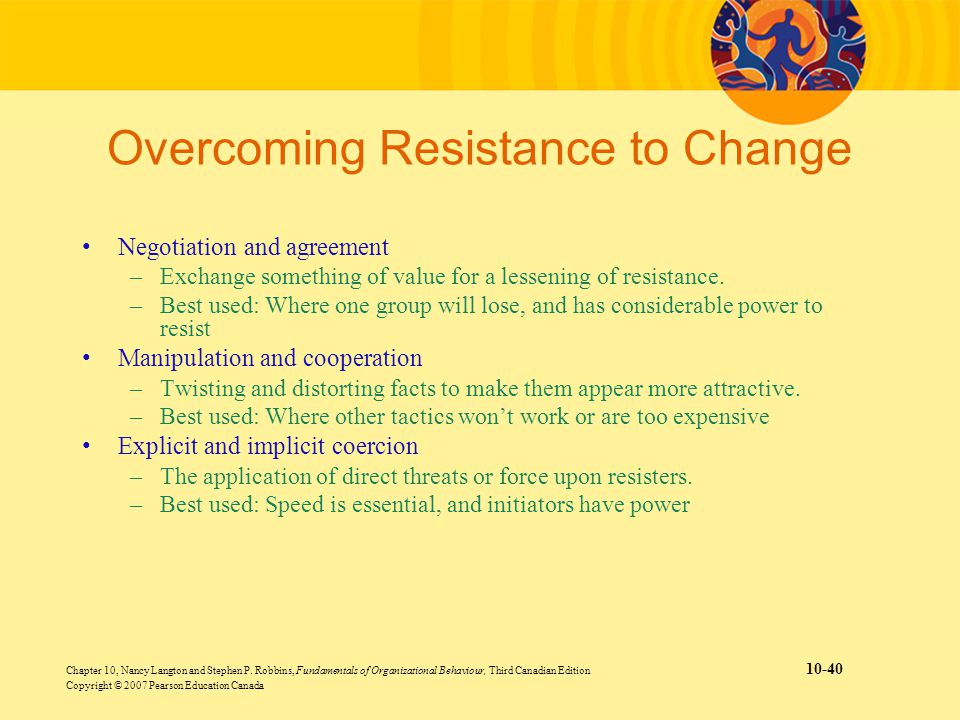 tambrands overcomming cultural resistance The six (6) change approaches of kotter and schlesinger is a model to prevent, decrease or minimize resistance to change in organizations.