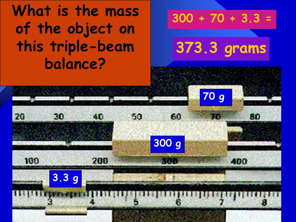 What is the mass of the object on this triple-beam balance
