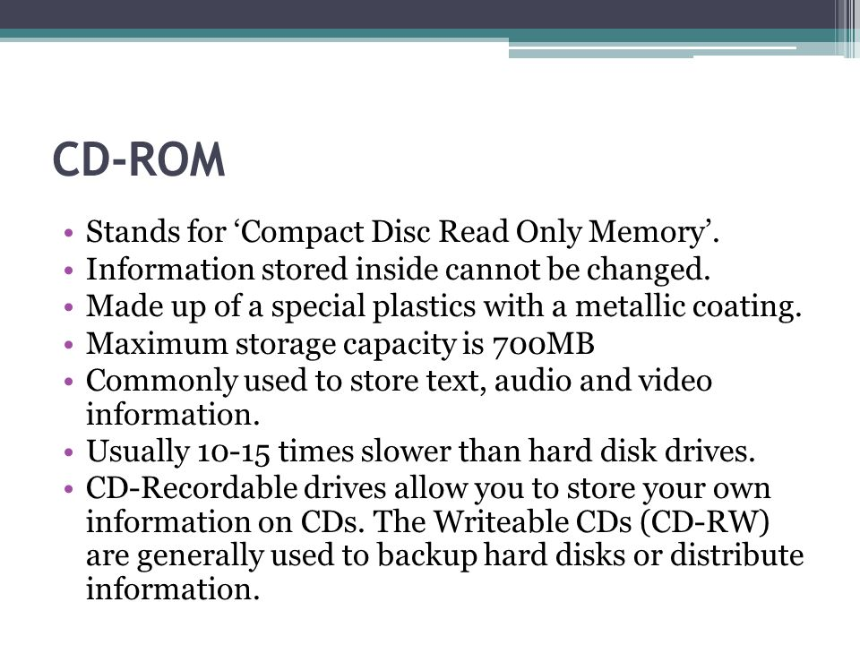 what do the letters cd rom stand for
