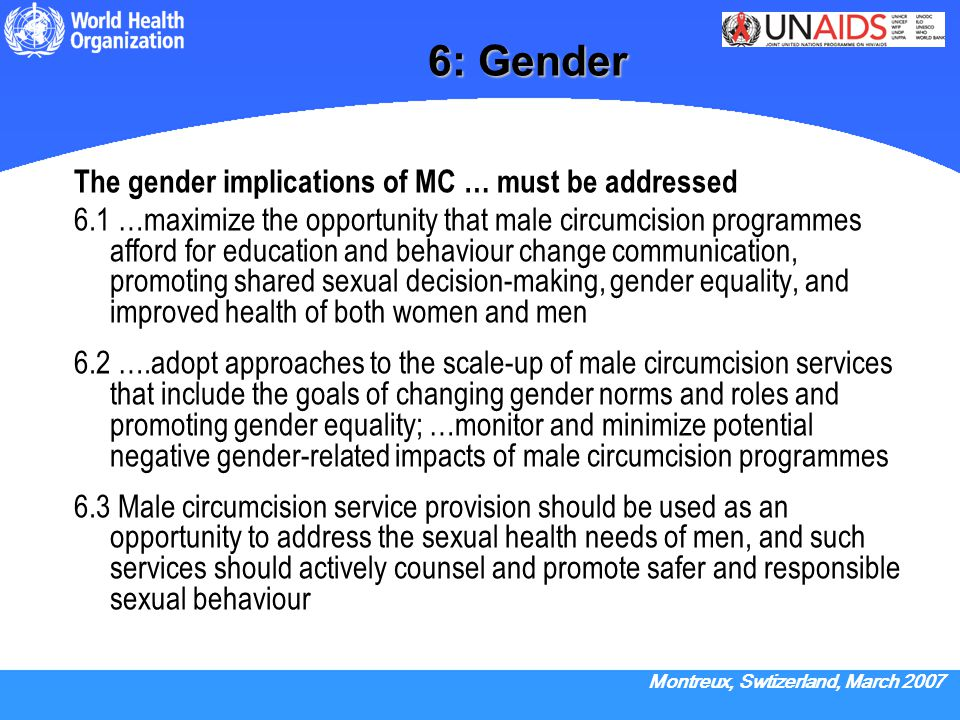 6: Gender The gender implications of MC … must be addressed