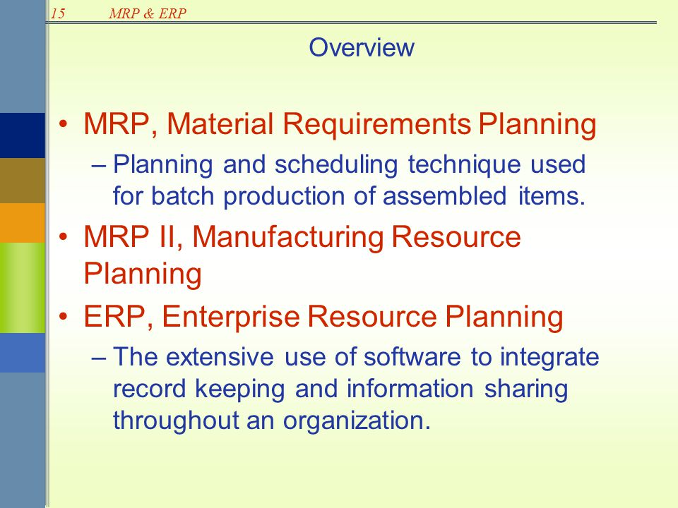 an overview of mrp essay Easa part 21 - airworthiness regulations compliance training and consultancy from industry leaders baines simmons.